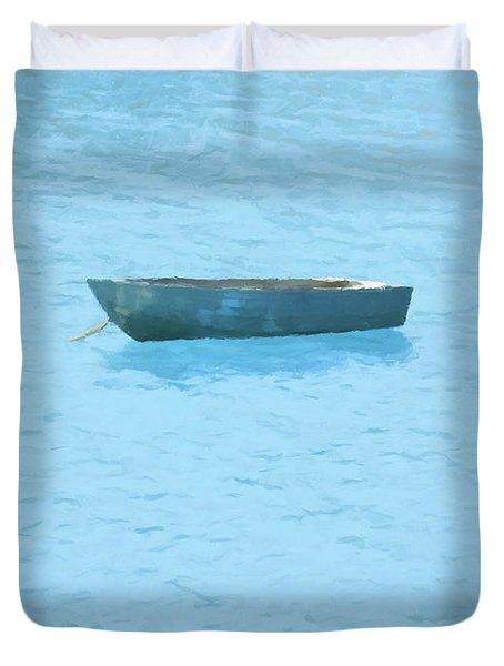 Boat On Blue Lake Duvet Cover by Pixel Chimp