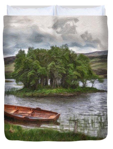Boat On Lake Bank 1929 Duvet Cover