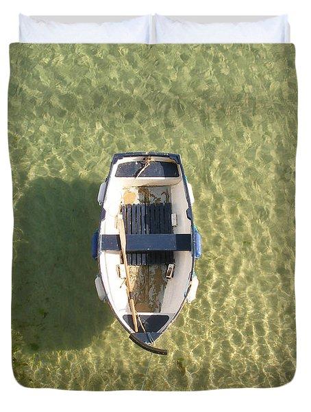 Boat On Ocean Duvet Cover by Pixel Chimp