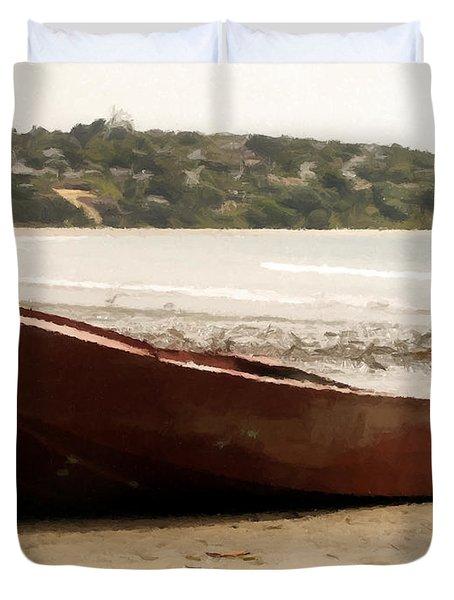 Boat On Shore 02 Duvet Cover by Pixel Chimp