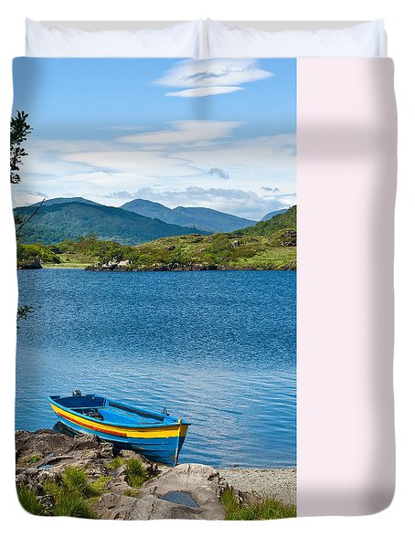 Duvet Cover featuring the photograph Boat On Upper Lake Killarney by Jane McIlroy