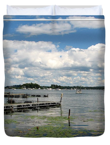 Duvet Cover featuring the photograph Boat Pier On Lake Ontario by Rose Santuci-Sofranko