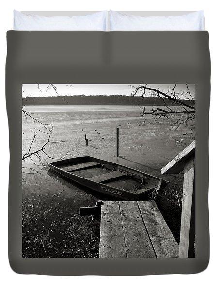Boat In Ice - Lake Wingra - Madison - Wi Duvet Cover