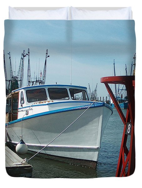 Boat With Light Buoy By Jan Marvin Duvet Cover