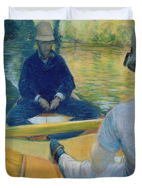 Boaters On The Yerres Duvet Cover by Gustave Caillebotte