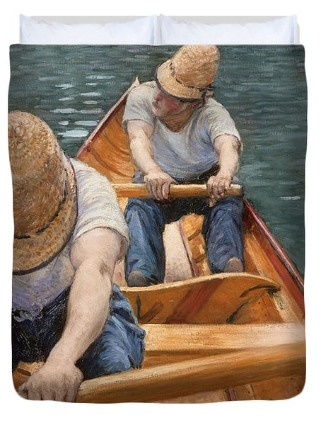 Boaters Rowing On The Yerres Duvet Cover by Gustave Caillebotte