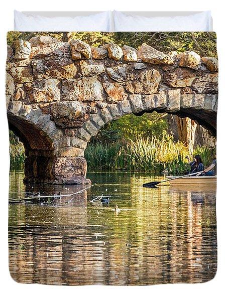 Boaters Under The Bridge Duvet Cover