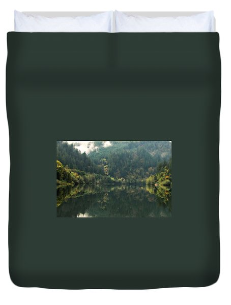 Duvet Cover featuring the photograph Boathouse by Katie Wing Vigil