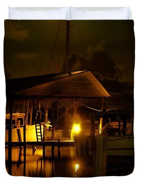 Boathouse Night Glow Duvet Cover by Michael Thomas