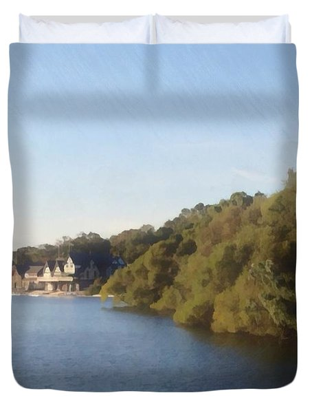 Duvet Cover featuring the photograph Boathouse by Photographic Arts And Design Studio