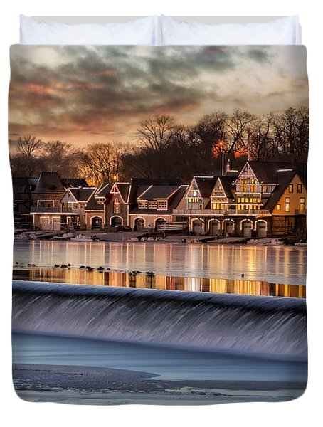 Duvet Cover featuring the photograph Boathouse Row Philadelphia Pa by Susan Candelario
