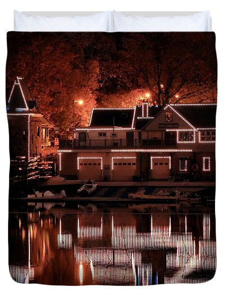 Boathouse Row Reflection Duvet Cover