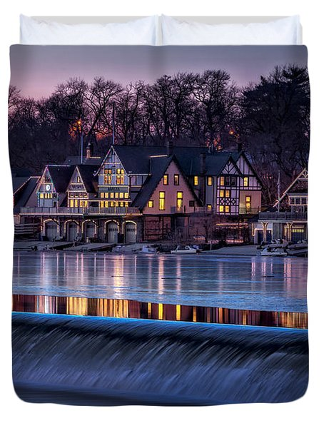 Duvet Cover featuring the photograph Boathouse Row by Susan Candelario