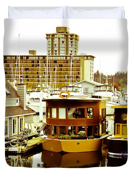 Duvet Cover featuring the photograph Boathouses by Eti Reid