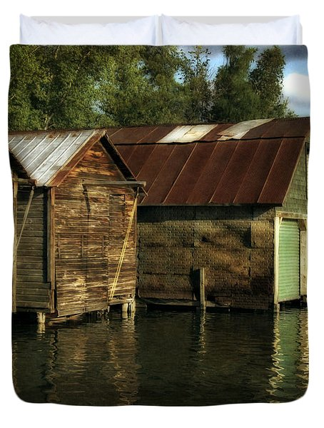 Boathouses On The River Duvet Cover by Michelle Calkins