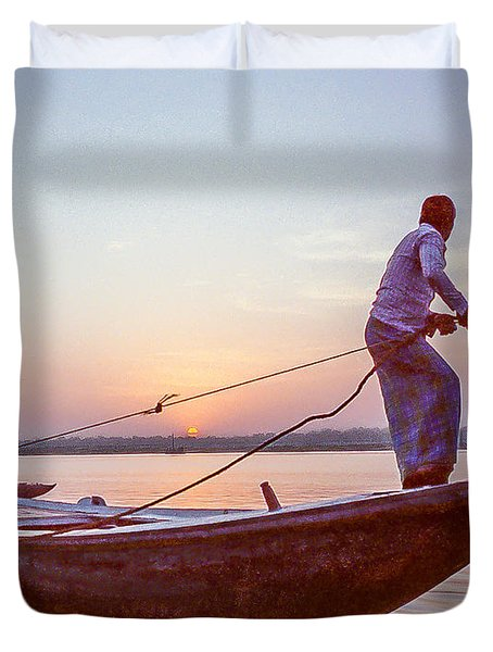 Boatman On The Ganges Duvet Cover