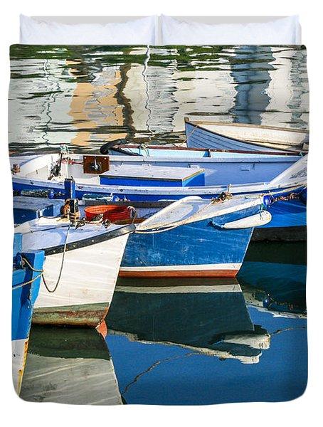 Boats At Anchor Duvet Cover