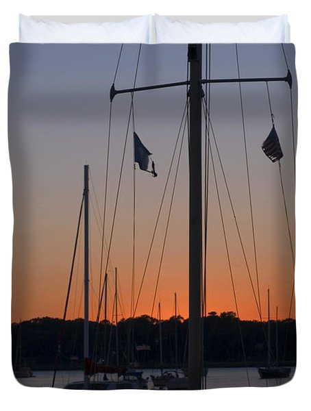 Boats At Beaufort Duvet Cover