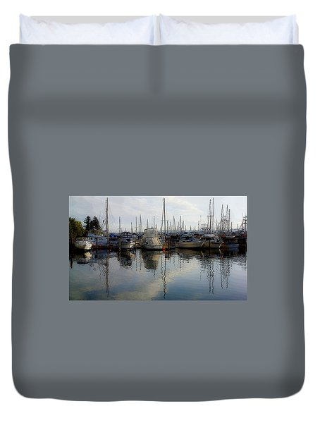 Duvet Cover featuring the photograph Boats At Marina On Liberty Bay by Greg Reed