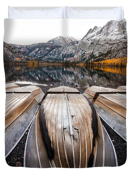 Boats At Mountain Lake In Autumn Fine Art Photograph Print Duvet Cover by Jerry Cowart