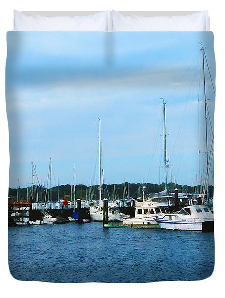 Boats At Newport Ri Duvet Cover by Susan Savad