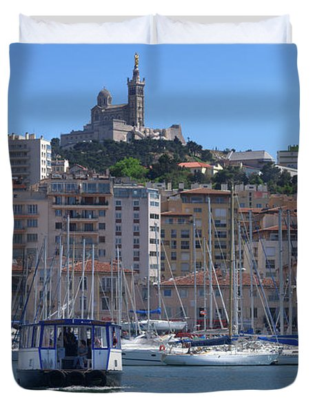 Boats At Old Port, Marseille Duvet Cover