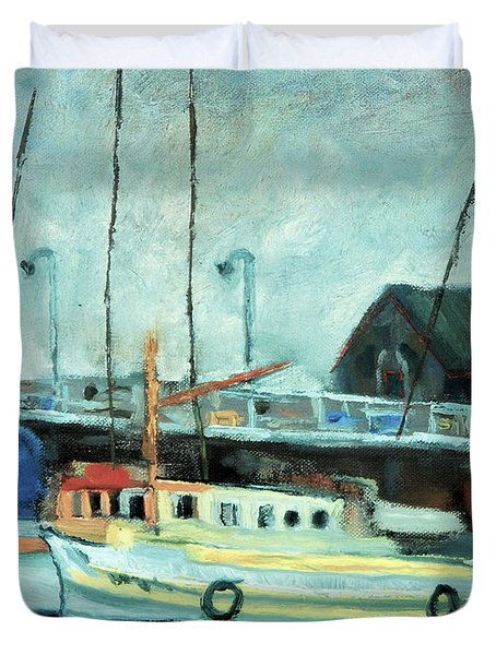 Boats At Provincetown Ma Duvet Cover by Michael Daniels
