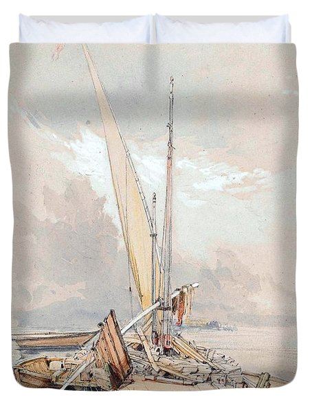 Boats At Quayside Lake Geneva Duvet Cover by James Holland
