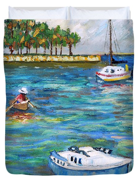 Boats At St Petersburg Duvet Cover