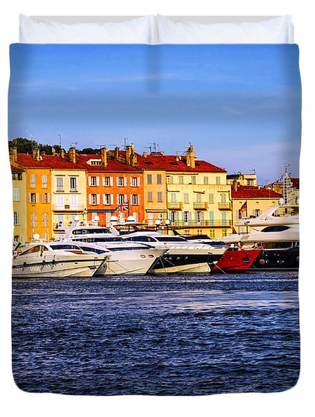 Boats At St.tropez Harbor Duvet Cover by Elena Elisseeva