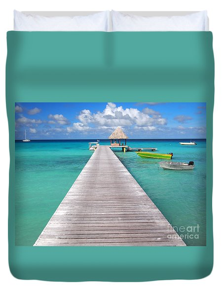 Boats At The Jetty In A Tropical Turquoise Lagoon Duvet Cover