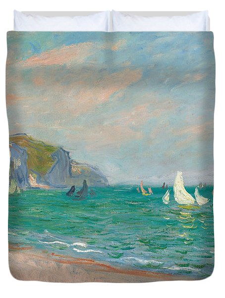Boats Below The Pourville Cliffs Duvet Cover