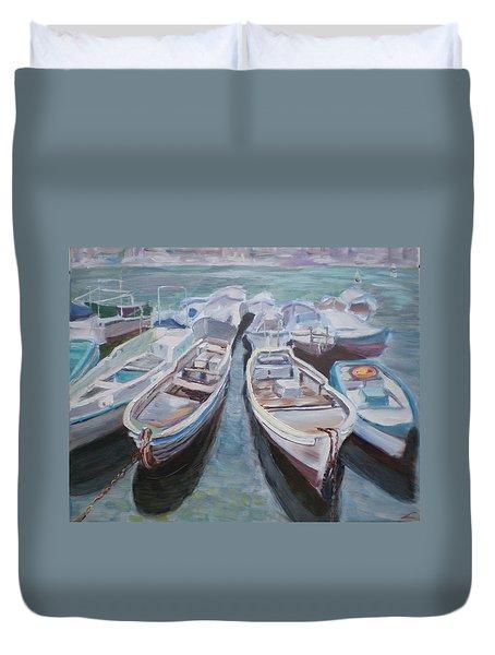 Boats Duvet Cover by Elena Sokolova