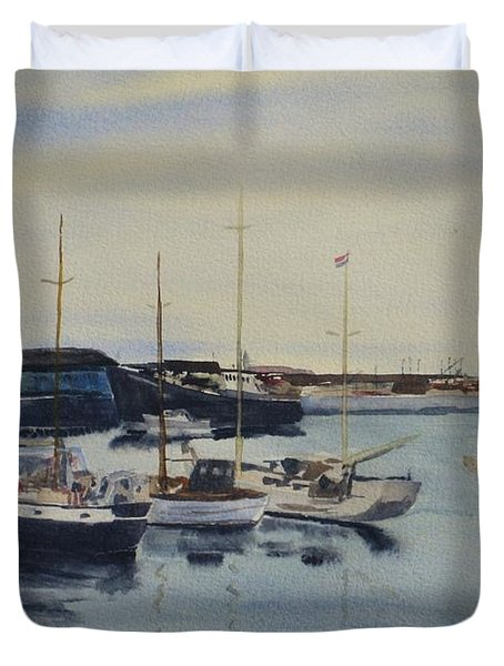 Boats In A Harbour Duvet Cover