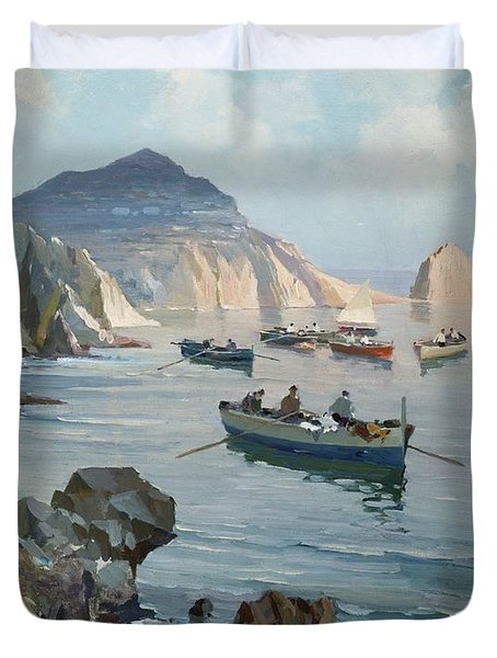 Boats In A Rocky Cove  Duvet Cover