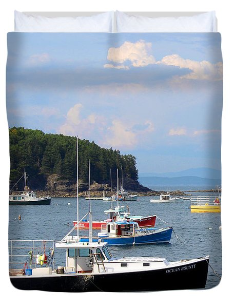 Boats In Bar Harbor Duvet Cover