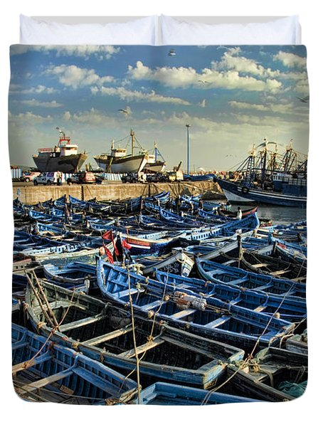 Boats In Essaouira Morocco Harbor Duvet Cover by David Smith