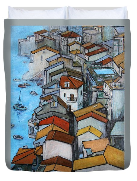 Boats In Front Of The Buildings Iv Duvet Cover