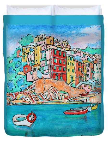 Boats In Front Of The Buildings X Duvet Cover