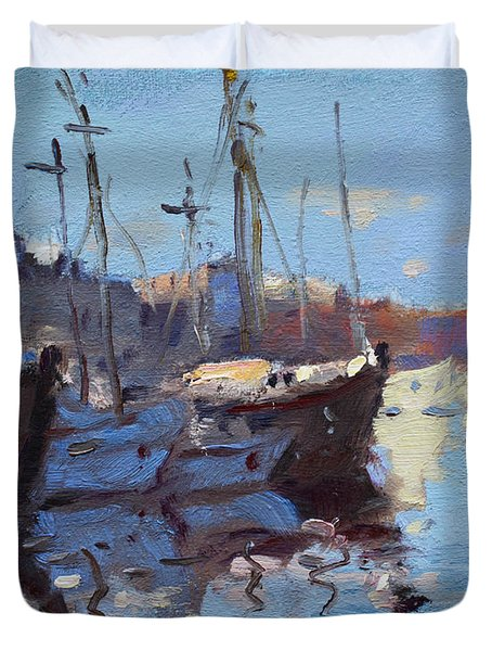 Boats In Mandraki Rhodes Greece  Duvet Cover