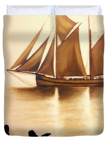Boats In Sun Light Duvet Cover
