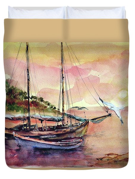 Boats In Sunset  Duvet Cover