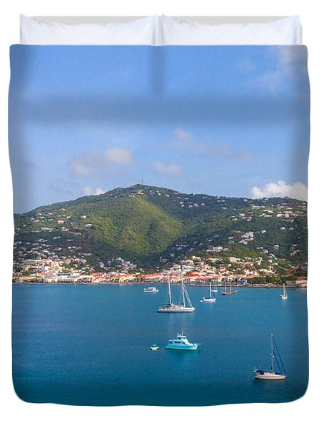 Boats In The Bay Duvet Cover
