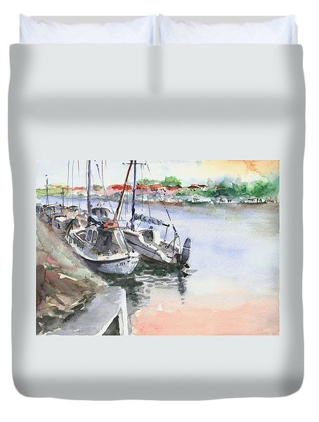 Boats Inshore Duvet Cover by Faruk Koksal