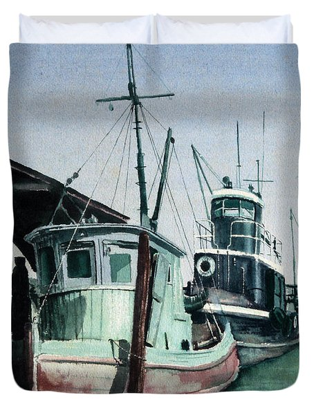 Duvet Cover featuring the painting Boats by Joey Agbayani