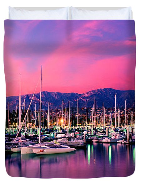 Boats Moored In Harbor At Sunset, Santa Duvet Cover