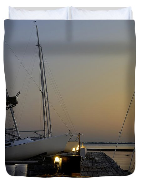 Boats Moored To Pier At Sunset Duvet Cover