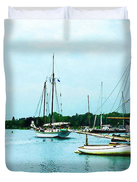 Boats On A Calm Sea Duvet Cover by Susan Savad