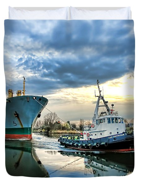 Boats On A Canal Duvet Cover