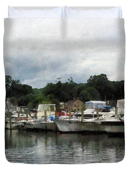 Boats On A Cloudy Day Essex Ct Duvet Cover by Susan Savad